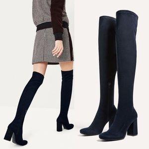 Zara navy blue over the knee boots